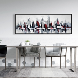 Framed 20 x 60 - Gray and red floating cityscape