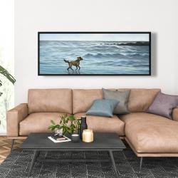 Framed 20 x 60 - Dog on the beach