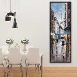 Framed 20 x 60 - Paris street blue