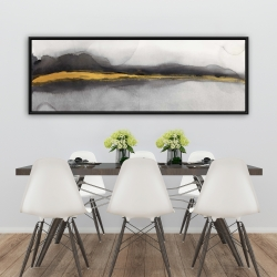 Framed 20 x 60 - Gold stripe abstract