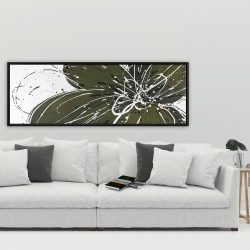 Framed 20 x 60 - Green flower with splash outline