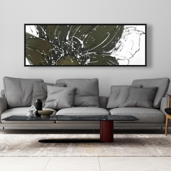 Framed 20 x 60 - Abstract flower with paint splash