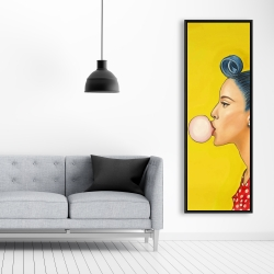 Framed 20 x 60 - Retro woman with beautiful ponytail