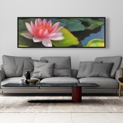 Framed 20 x 60 - Water lilies and lotus flowers