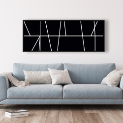 Framed 20 x 60 - White stripes on black background