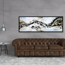 Framed 20 x 60 - Abstract and texturized paint splash
