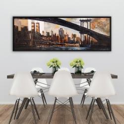 Framed 20 x 60 - Bridge in the city at sunset