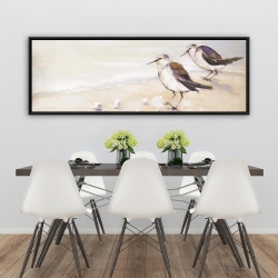 Framed 20 x 60 - Two sandpipers on the beach
