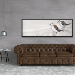 Framed 20 x 60 - Two sandpipiers birds