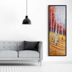 Framed 20 x 60 - Fall landscape with birches