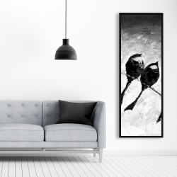 Framed 20 x 60 - Five birds perched