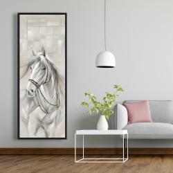 Framed 20 x 60 - Worthy white horse