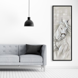 Framed 20 x 60 - White horse with his mane in the wind