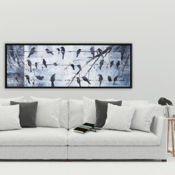 Framed 20 x 60 - Abstract birds on electric wire
