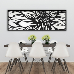 Framed 20 x 60 - Dahlia flower outline style