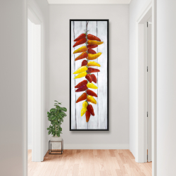 Framed 20 x 60 - Rope of peppers with wood background
