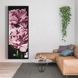Framed 20 x 60 - Pink peonies