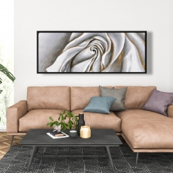 Framed 20 x 60 - White rose delicate