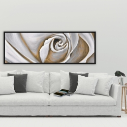 Framed 20 x 60 - White rose closeup
