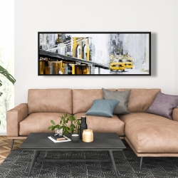 Framed 20 x 60 - Yellow brooklyn bridge with taxis