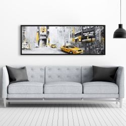 Framed 20 x 60 - New york city with taxis