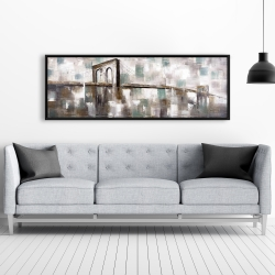 Framed 20 x 60 - Abstract paint spotted bridge