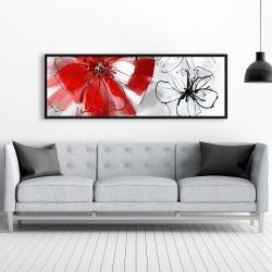 Framed 20 x 60 - Red & gray flowers