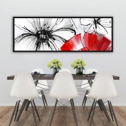 Framed 20 x 60 - Red & white flowers sketch