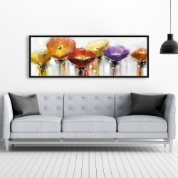 Framed 20 x 60 - Multiple colorful abstract flowers