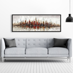 Framed 20 x 60 - Abstract colorful skyscrapers