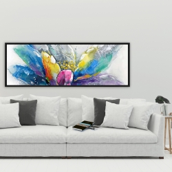 Framed 20 x 60 - Abstract flower with newspaper