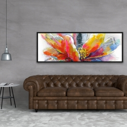 Framed 20 x 60 - Abstract flower with texture