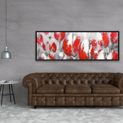 Framed 20 x 60 - Abstract red tulips