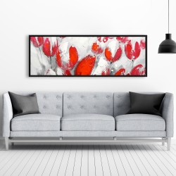 Framed 20 x 60 - Red tulips