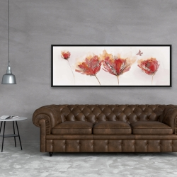 Framed 20 x 60 - Crimson flowers and butterfly