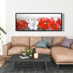 Framed 20 x 60 - Gray field with red flowers