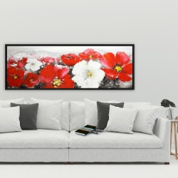 Framed 20 x 60 - Red and white flowers field