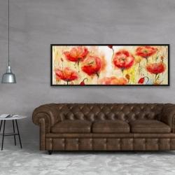 Framed 20 x 60 - Red flowers garden