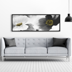 Framed 20 x 60 - Black and white flowers