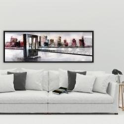 Framed 20 x 60 - Abstract bridge cityscape