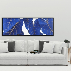 Framed 20 x 60 - Tropical abstract blue leaves
