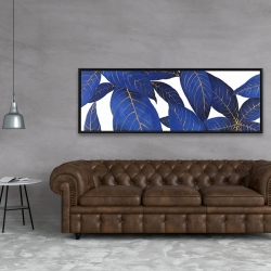 Framed 20 x 60 - Abstract modern blue leaves