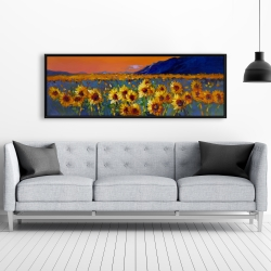 Framed 20 x 60 - Field of sunflowers