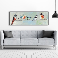Framed 20 x 60 - Small abstract colorful birds