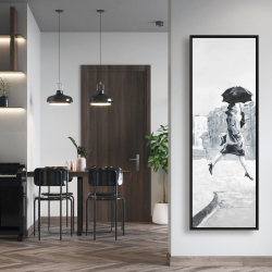 Framed 20 x 60 - Woman in the rain