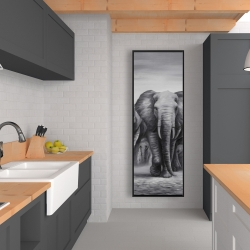 Framed 20 x 60 - Herd of elephants
