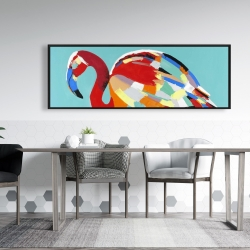 Framed 20 x 60 - Abstract flamingo