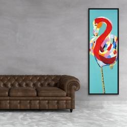 Framed 20 x 60 - Colorful flamingo