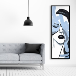 Framed 20 x 60 - Abstract blue woman portrait