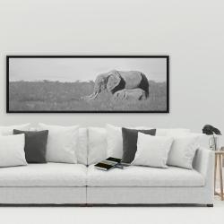 Framed 20 x 60 - Elephants in the savannah
